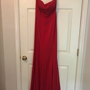 Red sweetheart neck gown
